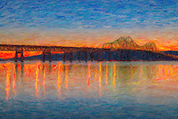 The western sky glows orange after sunset behind the Tappan Zee Bridge, whose lights reflect off the surface of the Hudson River as seen from Tarrytown, New York. The image was creatively modified to resemble a painting.