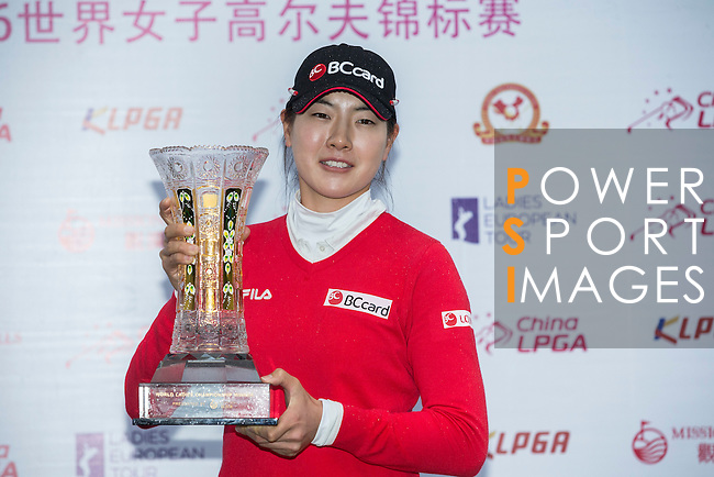 Jung Min Lee of South Korea poses with her trophy during the Prize giving ceremony of the World Ladies Championship 2016 on 13 March 2016 at Mission Hills Olazabal Golf Course in Dongguan, China. Photo by Victor Fraile / Power Sport Images