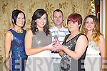 Zoe McHale is presented the Senior Lady Footballer of the Year at the Legion GAA social in the Killarney Avenue Hotel on Saturday night l-r: Maureen, Zoe, Joe McHale, Sheila O'Mahony and Cammy Kelliher.