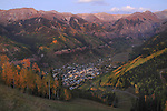 City lights from above Telluride, Colorado, USA.