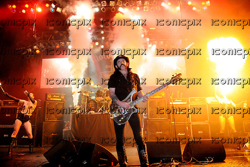 Lemmy of Motorhead performing live with a troupe of fire eaters and dancers at the Apollo Hammersmith, London  - 22 Nov 2008.  Photo by: George Chin /IconicPix