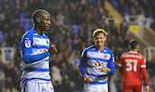 31st October 2017, Madejski Stadium, Reading, England; EFL Championship football, Reading versus Nottingham Forest;Sone Aluko of Reading celebrates scoring their third goal