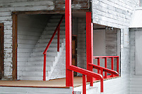 Newly repainted bannisters highlight the stairs of a building at Independence Mine State Historical Park, in the Hatcher Pass area about 50 miles north of Anchorage, Alaska.