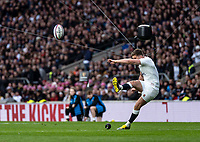 Owen Farrell of England slots the May conversion during the Guinness Six Nations match between England and Italy at Twickenham Stadium on March 9th, 2019 in London, United Kingdom. Photo by Liam McAvoy.