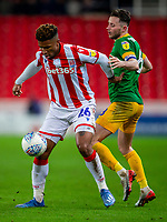 12th February 2020; Bet365 Stadium, Stoke, Staffordshire, England; English Championship Football, Stoke City versus Preston North End; Tyrese Campbell of Stoke City under pressure from Alan Browne of Preston North End
