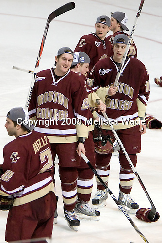 (Aiello) Andrew Orpik (BC - 27), Matt Greene (BC - 14), (Price, Gerbe), Kyle Kucharski (BC - 18) - The Boston College Eagles defeated the Miami University RedHawks 4-3 in overtime on Sunday, March 30, 2008 in the NCAA Northeast Regional Final at the DCU Center in Worcester, Massachusetts.