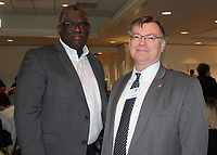 NWA Democrat-Gazette/CARIN SCHOPPMEYER Frank Johnson (left) and John Threet attend Pathways to Prosperity.
