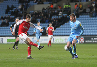 Fleetwood Town's Ched Evans gets a shot on goal<br /> <br /> Photographer Mick Walker/CameraSport<br /> <br /> The EFL Sky Bet League One - Coventry City v Fleetwood Town - Tuesday 12th March 2019 - Ricoh Arena - Coventry<br /> <br /> World Copyright © 2019 CameraSport. All rights reserved. 43 Linden Ave. Countesthorpe. Leicester. England. LE8 5PG - Tel: +44 (0) 116 277 4147 - admin@camerasport.com - www.camerasport.com