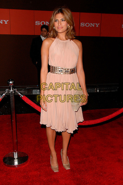 EVA MENDES.Attend the Sony Global Conference Party held on Rodeo Drive in Beverly Hills, California, USA,.September 29th 2006..full length cream beige dress belt clutch bag shoes.Ref: DVS.www.capitalpictures.com.sales@capitalpictures.com.©Debbie VanStory/Capital Pictures