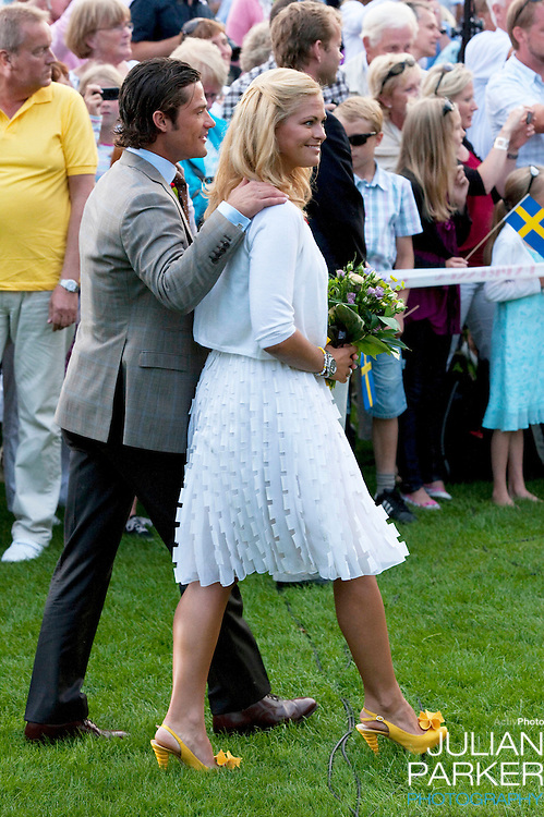 Crown Princess Victoria of Sweden celebrates her 32nd Birthday at a concert in Borgholm, on the Island of Oland in Sweden..Accompanied by her fiance Daniel Westling, and King Carl Gustaf, and Queen Silvia of Sweden, Prince Carl Phillip, and Princess Madeleine of Sweden.Prince Carl Phillip and Princess Madeleine of Sweden