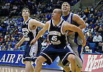 30 January 2008:  BYU forward, Jonathan Tavernari (45), blocks out Air Force forward, Matt Holland during the Cougar's 69-53 victory over the Air Force Falcons at Clune Arena, Air Force Academy, Colorado Springs, Colorado.