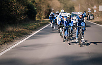 The Team Quickstep Floors race take-over: hijacking it by simply riding off the front of the peloton with 7 (!) riders of the team (and 3 hangers-on holding on for dear life...)<br /> <br /> 50th GP Samyn 2018<br /> Quaregnon &gt; Dour: 200km (BELGIUM)
