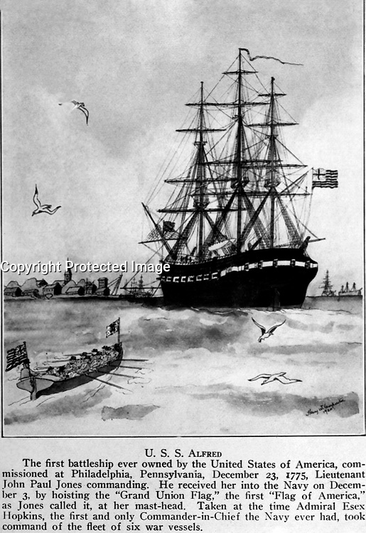 U.S.S. Alfred.  The first battleship ever owned by the United States of America, commissioned at Philadelphia, Pennsylvania, December 23, 1775, Lieutenant John Paul Jones commanding.  Copy of artwork by Harry W. Carpenter, 1920. (Bureau of Ships)<br />NARA FILE #:  019-N-9977-A<br />WAR &amp; CONFLICT #:  43