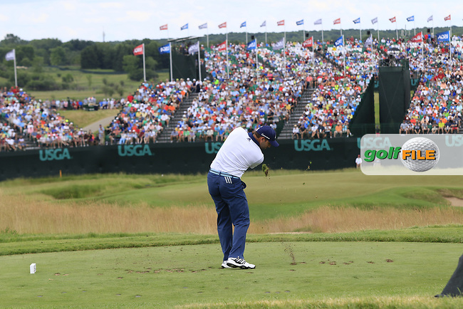 Sergio Garcia (ESP) tees off the par3 9th tee during Saturday's Round 3 of the 117th U.S. Open Championship 2017 held at Erin Hills, Erin, Wisconsin, USA. 17th June 2017.<br /> Picture: Eoin Clarke | Golffile<br /> <br /> <br /> All photos usage must carry mandatory copyright credit (&copy; Golffile | Eoin Clarke)