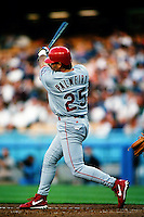 Rafael Palmeiro of the Texas Rangers during a game against the Los Angeles Dodgers at Dodger Stadium circa 1999 in Los Angeles, California. (Larry Goren/Four Seam Images)