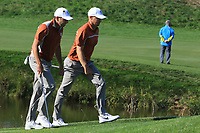Sergio Garcia and Alex Noren (Team Europe) on the 10th fairway during Saturday Foursomes at the Ryder Cup, Le Golf National, Ile-de-France, France. 29/09/2018.<br /> Picture Thos Caffrey / Golffile.ie<br /> <br /> All photo usage must carry mandatory copyright credit (© Golffile | Thos Caffrey)