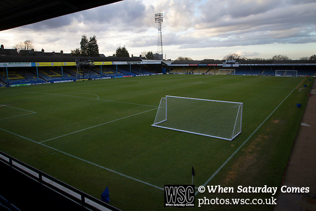 Southend United 1 Burton Albion 1, 22/02/2016. Roots Hall, League One. The view from the south stand across the pitch at Roots Hall stadium, pictured before Southend United took on Burton Albion in a League 1 fixture. Founded in 1906, Southend United moved into their current ground in 1955, the construction of which was funded by the club's supporters. Southend won this match by 3-1, watched by a crowd of 6503. Photo by Colin McPherson.
