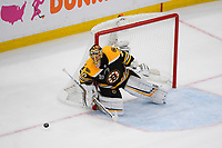 June 12, 2019: Boston Bruins goaltender Tuukka Rask (40) tracks the puck during game 7 of the NHL Stanley Cup Finals between the St Louis Blues and the Boston Bruins held at TD Garden, in Boston, Mass.  The Saint Louis Blues defeat the Boston Bruins 4-1 in game 7 to win the 2019 Stanley Cup Championship.  Eric Canha/CSM.