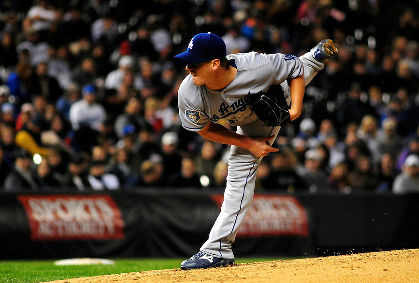 12 September 2008: Los Angeles Dodgers pitcher Chad Billingsley pitches against the Colorado Rockies. The Dodgers defeated the Rockies 7-2 at Coors Field in Denver, Colorado. FOR EDITORIAL USE ONLY