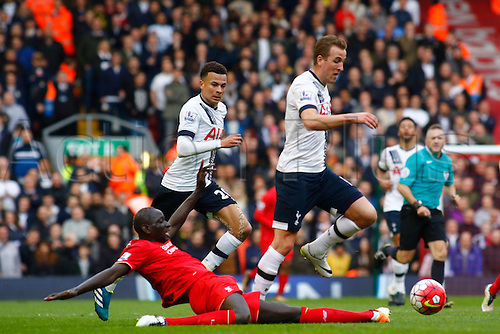 02.04.2016. Anfield, Liverpool, England. Barclays Premier League. Liverpool versus Tottenham Hotspur.  Spurs striker Harry Kane rides the tackle of Liverpool defender Mamadou Sakho.