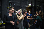 © Joel Goodman - 07973 332324 . 16/09/2016 . Hamburg , Germany . Cast and crew share a drink back stage after the opening night of Wut / Rage at the Thalia Theatre . The piece is written by Elfriede Jelinek and Simon Stephens and directed by Sebastian Nubling . Photo credit : Joel Goodman
