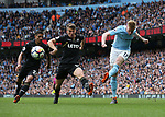 Kevin De Bruyne of Manchester City crosses the ball during the premier league match at the Etihad Stadium, Manchester. Picture date 22nd April 2018. Picture credit should read: Simon Bellis/Sportimage