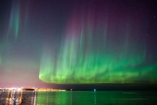 Marquette skyline, ore dock,and aurora