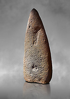 Late European Neolithic prehistoric Menhir standing stone which represents a standing figure. Excavated from Bau Carradore III site,  Laconi. Menhir Museum, Museo della Statuaria Prehistorica in Sardegna, Museum of Prehoistoric Sardinian Statues, Palazzo Aymerich, Laconi, Sardinia, Italy