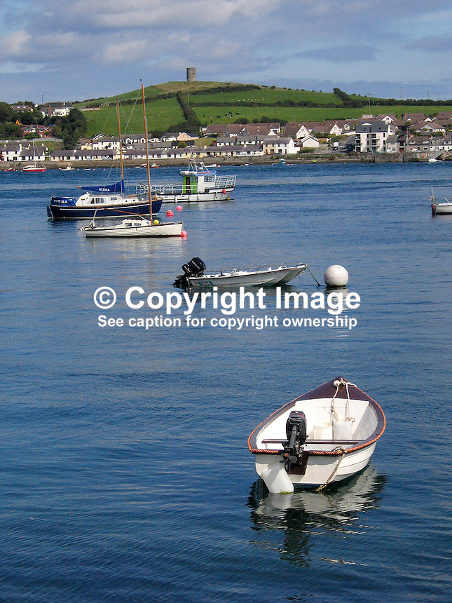 Strangford Lough, Co Down, N Ireland, UK, with Portaferry and the Ards Peninsula in the background, photographed from the town of Strangford. 200708250097..Copyright Image from Victor Patterson, 54 Dorchester Park, Belfast, UK, BT9 6RJ..Tel: +44 28 9066 1296.Mob: +44 7802 353836.Voicemail +44 20 8816 7153.Skype: victorpattersonbelfast.Email: victorpatterson@mac.com.Email: victorpatterson@ireland.com (back-up)..IMPORTANT: If you wish to use this image or any other of my images please go to www.victorpatterson.com and click on the Terms & Conditions. Then contact me by email or phone with the reference number(s) of the image(s) concerned.