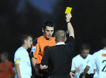 Rob Duffy is issued with a yellow card after fowling Matt Grey. Newport County V Havant & Waterlooville FC, Blue Square South League, © Ian Cook IJC Photography iancook@ijcphotography.co.uk www.ijcphotography.co.uk