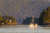 "Commercial trolling vessel ""Nikka"" passes through Sitka Sound, southeast, Alaska."