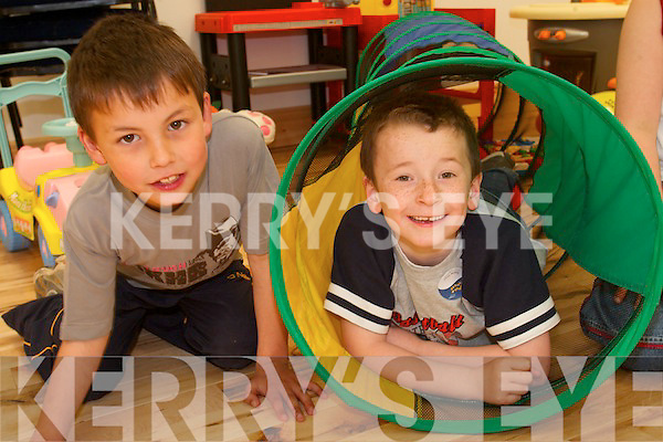 COOL KIDS: Enjoying the action at the  Meningitis Trust Coffee Morning and Fun Day at the Duagh family Resource Centre on Friday last were Danny Cronin and Jerry O'Connor.