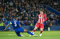 Fernando Torres of Club Atletico de Madrid passes by a Wes Morgan of Leicester City tackle during the UEFA Champions League QF 2nd Leg match between Leicester City and Atletico Madrid at the King Power Stadium, Leicester, England on 18 April 2017. Photo by Andy Rowland.