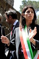 Roma, 3 Maggio 2017<br /> La Sindaca Di Roma Virginia Raggi in attesa del Presidente della Germania Frank-Walter Steinmeier per rendere omaggio alle vittime del massacro nazista alle Fosse Ardeatine