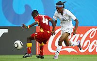 USA's Maya Hayes (R) and Janet Egyir of Ghana during the FIFA U20 Women World Cup at the Rudolf Harbig Stadium in Dresden, Germany on July 14th, 2010.