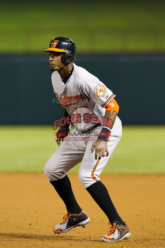 Baltimore Orioles outfielder Adam Jones #10 leads off of first base during the Major League Baseball game against the Texas Rangers on August 21st, 2012 at the Rangers Ballpark in Arlington, Texas. The Orioles defeated the Rangers 5-3. (Andrew Woolley/Four Seam Images)..