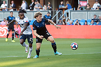 SAN JOSE, CA - AUGUST 24: Yordy Reyna #29 of the Vancouver WhitecapsFlorian Jungwirth #23 of the San Jose Earthquakes during a game between Vancouver Whitecaps FC and San Jose Earthquakes at Avaya Stadium on August 24, 2019 in San Jose, California.
