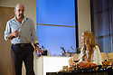 "London, UK. 30.09.2014. ""Speed-the-Plow"", by David Mamet, directed by Lindsay Posner, starring Lindsay Lohan, opens at the Playhouse Theatre. Picture shows: Richard Schiff (Bobby Gould) and Lindsay Lohan (Karen). Photograph © Jane Hobson."
