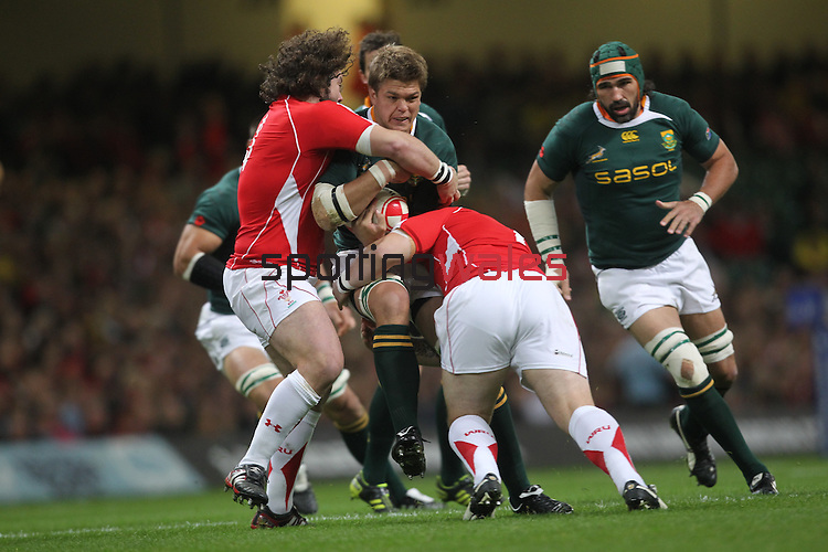 No way through for Juan Smith as Paul James and Adam Jones close in..Invesco Perpetual '10 Series.Wales v South Africa.13.11.10.Photo Credit: Steve Pope-Sportingwales