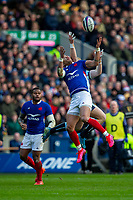 8th March 2020; Murrayfield Stadium, Edinburgh, Scotland; International Six Nations Rugby, Scotland versus France; Gael Fickou of France jumps for the kicked forward ball