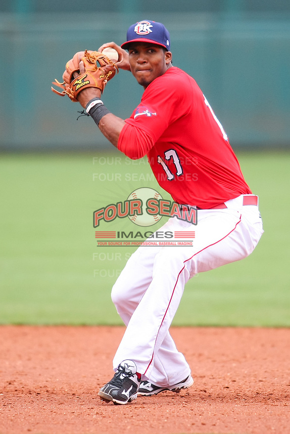 Jimmy Paredes (17) in action during the MiLB matchup between the Memphis Redbirds and the Oklahoma City Redhawks at Chickasaw Bricktown Ballpark on April 8th, 2012 in Oklahoma City, Oklahoma. The Redhawks defeated the Redbirds 8-1  (William Purnell/Four Seam Images)