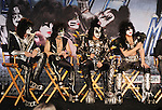 HOLLYWOOD, CA - MARCH 20: Tommy Thayer, Eric Singer, Gene Simmons and Paul Stanley of KISS  attend the 'Kiss, Motley Crue: The Tour' Press Conference at Hollywood Roosevelt Hotel on March 20, 2012 in Hollywood, California.