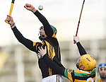 Cathal Doohan of Ballyea in action against Gavin Moylan of Glen Rovers during their Munster Club hurling final at Thurles. Photograph by John Kelly.