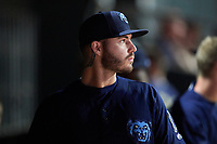 Mobile BayBears relief pitcher Sean Isaac (37) in the dugout during a game against the Jacksonville Jumbo Shrimp on April 14, 2018 at Baseball Grounds of Jacksonville in Jacksonville, Florida.  Mobile defeated Jacksonville 13-3.  (Mike Janes/Four Seam Images)