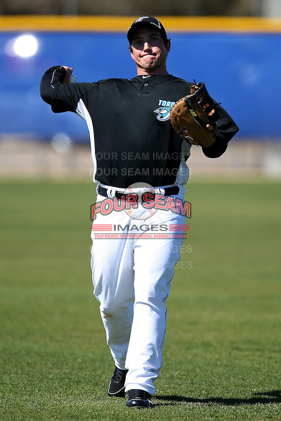 March 1, 2010:  Infielder Brett Wallace (46) of the Toronto Blue Jays during practice at Englebert Complex in Dunedin, FL.  Photo By Mike Janes/Four Seam Images