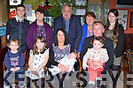 Baby Jack Flynn, Milltown celebrated his christening with his parents Martina and Mike Flynn, his big sisters Michaela, Amy and Clodagh in the Anvil bar Boolteens on Saturday back row: Darragh O'Brien, Eileen Flynn, John Flynn, Joan Coffey and Kaya Flynn