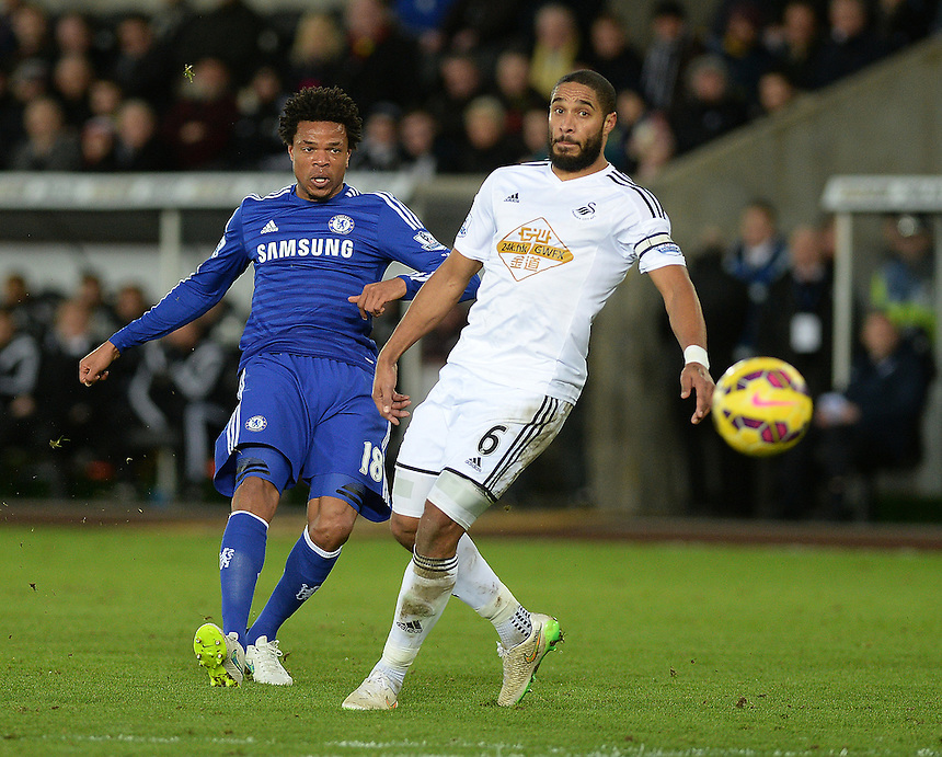 Chelsea's Loic Remy in action during todays match  <br /> <br /> Photographer /Ashley CrowdenCameraSport<br /> <br /> Football - Barclays Premiership - Swansea City v Chelsea - Saturday 17th January 2015 - Liberty Stadium - Swansea<br /> <br /> &copy; CameraSport - 43 Linden Ave. Countesthorpe. Leicester. England. LE8 5PG - Tel: +44 (0) 116 277 4147 - admin@camerasport.com - www.camerasport.com