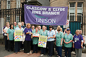 Nursing and ancillary staff mark the 63rd birthday of the NHS at Glasgow Royal Infirmary, where all hospital ancillary services are provided by directly employed staff.  A PFI contract with Sodexho ended in 2006 following successful industrial action over pay and conditions.  The success of the in-house services influenced the Scottish Parliament's 2008 decision to bring all hospital cleaning in Scotland in-house.