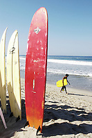 Surf boards for rent at Zicatela beach in Puerto Escondido, Oaxaca