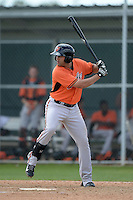 First baseman Nikolas Balog (16) of the Baltimore Orioles organization during a minor league spring training game against the Minnesota Twins on March 20, 2014 at Buck O'Neil Complex in Sarasota, Florida.  (Mike Janes/Four Seam Images)